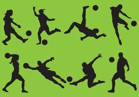 Silhuetas de futebol feminino e masculino vetor