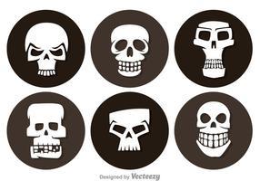 Ícones do círculo do crânio vetor