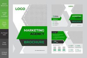 design de brochura bi-fold verde marketing corporativo ousado vetor