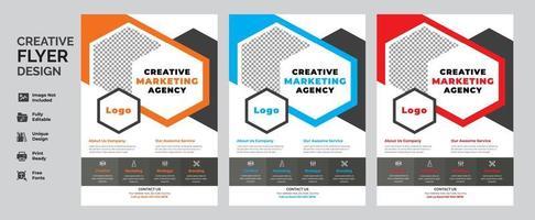 conjunto de design de folheto de negócios geométricos vetor