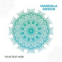 design de mandala ornamentado verde azul degradê vetor
