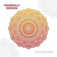 design de mandala intrincada laranja e amarela vetor