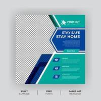 banner de mídia social de prevenção de vírus azul turquesa