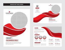 conjunto de modelo de folheto corporativo de forma curva vermelho e branco vetor