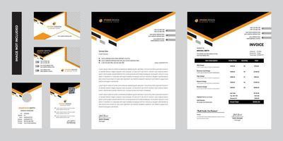 design de modelo de papelaria corporativa empresarial moderno escuro vetor