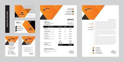 design de modelo de papelaria corporativa de negócios modernos laranja vetor