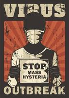 poster vintage de surto de vírus vetor