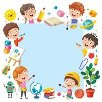 crianças dos desenhos animados com uma moldura com espaço de cópia vetor