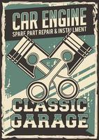 cartaz de reparação de serviço de pistão de carro de auto serviço vetor