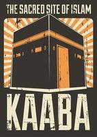 raios de sol retros muçulmano islã kaaba meca poster vetor
