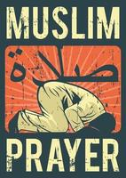 oração muçulmana do islã do vintage shalat salat salah poster vetor