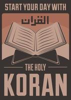 cartaz muçulmano retro do Alcorão do Islã vetor