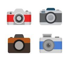 conjunto de ícones de câmera de design plano vetor