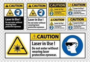 cuidado ppe laser de segurança em uso conjunto de etiquetas vetor