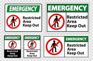 área restrita de emergência manter fora conjunto de sinal símbolo