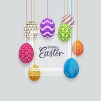 banner de feliz páscoa com ovos estampados de suspensão vetor