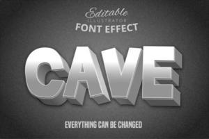 efeito de texto de bloco de pedra da caverna vetor