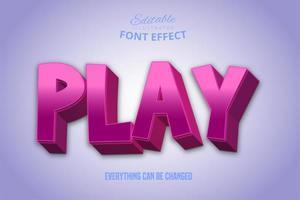 jogar efeito de texto rosa brilhante vetor