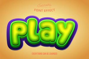 3D verde e roxo jogar efeito de texto