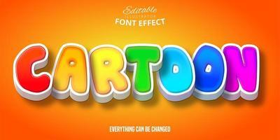 efeito de texto dos desenhos animados do arco-íris vetor