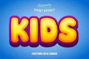 efeito de texto de bolha de crianças vetor