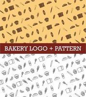 conjunto de logotipo e padrão de padaria vetor