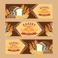 conjunto de banner de pão vetor