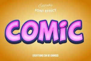 efeito de texto em quadrinhos rosa brilhante vetor