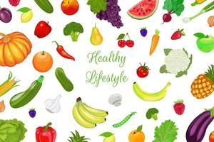 padrão de frutas e legumes em branco vetor