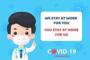 médico recomendando que as pessoas fiquem em casa vetor