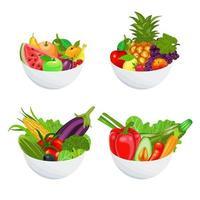 comida saudável em tigelas vetor