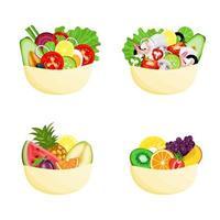 conjunto de tigela de frutas e legumes vetor