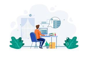 macho fazendo exame on-line com computador pessoal
