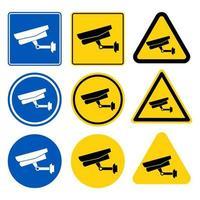 conjunto de etiquetas de câmera de cctv vetor