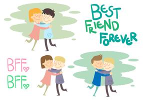 Conjunto de vetores dos amigos abraçados