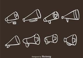 Ícones de megafone desenhados à mão vetor