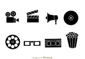 Ícones do vetor do filme preto