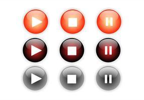 Conjunto de botões de reprodução vetor