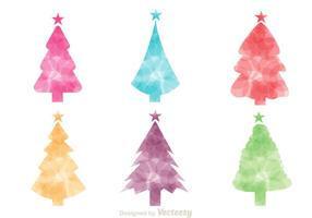 Vetores coloridos da silhueta da árvore de Natal