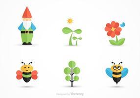 Ícones de vetor de jardinagem de desenhos animados grátis