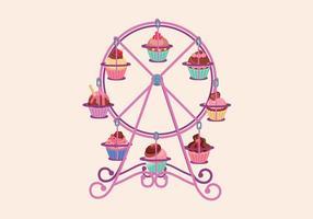 Carrinho de cupcake vetor