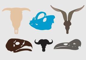 Conjunto de silhuetas de crânio de animais vetor