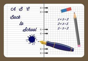 Caderno e outros materiais de escrita no vetor