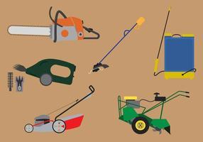 Jogo de ferramentas e máquinas para jardinagem vetor