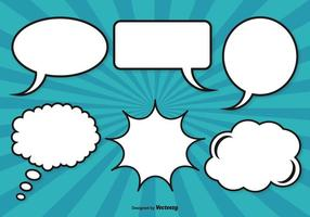 Conjunto de bolhas de discurso de estilo cômico vetor