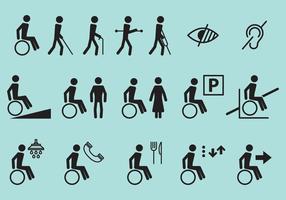 Ícones de vetor de deficiência