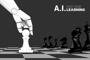 mão de robô, movendo o peão no tabuleiro de xadrez