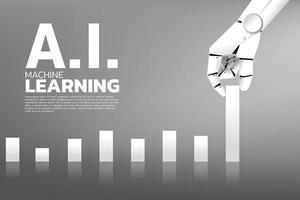 mão de robô, puxando o gráfico de negócios mais alto