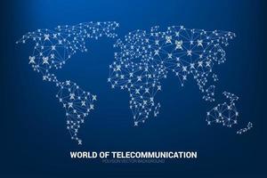 torre de antena de polígono em forma de mapa do mundo vetor