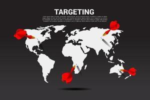dardos no mapa do mundo vetor